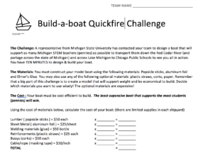 Build a boat challenge instructions
