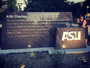 Leigh in front of ASU Charter